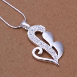 Vienna Jewelry Sivler Tone Curved Abstract Emblem Drop Necklace - Thumbnail 0