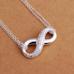 Vienna Jewelry Sterling Silver Crystal Jewels Infinite Emblem Necklace - Thumbnail 0