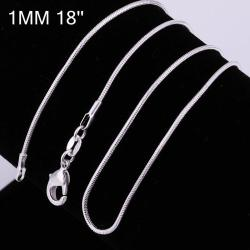Vienna Jewelry Sterling Silver Modern Snake Design Chain Necklace - Thumbnail 0