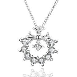 Vienna Jewelry Sterling Silver Crystal Clover Stud Drop Necklace - Thumbnail 0