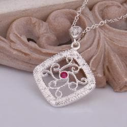 Vienna Jewelry Sterling Silver Laser Cut Diamond Shaped Ruby Necklace - Thumbnail 0