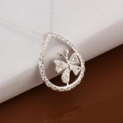 Vienna Jewelry Sterling Silver Petite Clover Emblem Drop Necklace - Thumbnail 0