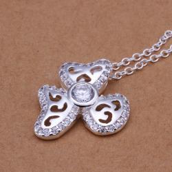Vienna Jewelry Sterling Silver Laser Cut Trio-Clover Petal Pendant - Thumbnail 0