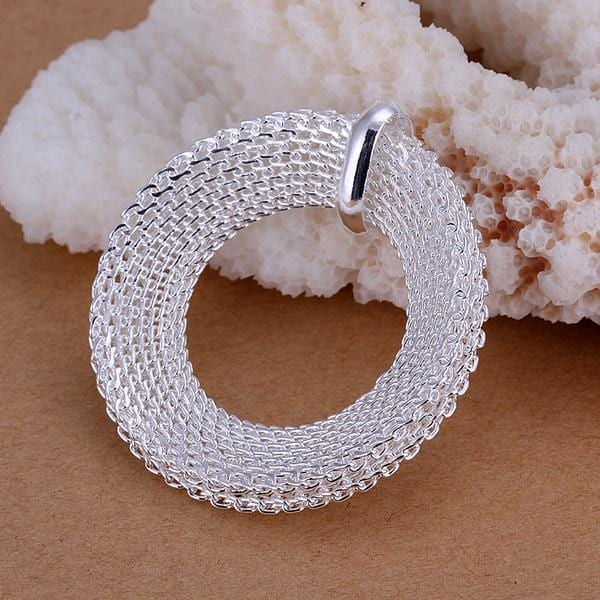 Vienna Jewelry Sterling Silver Mesh Circle Pendant