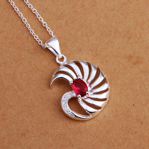 Vienna Jewelry Sterling Silver Swirl Ruby Emblem Drop Necklace
