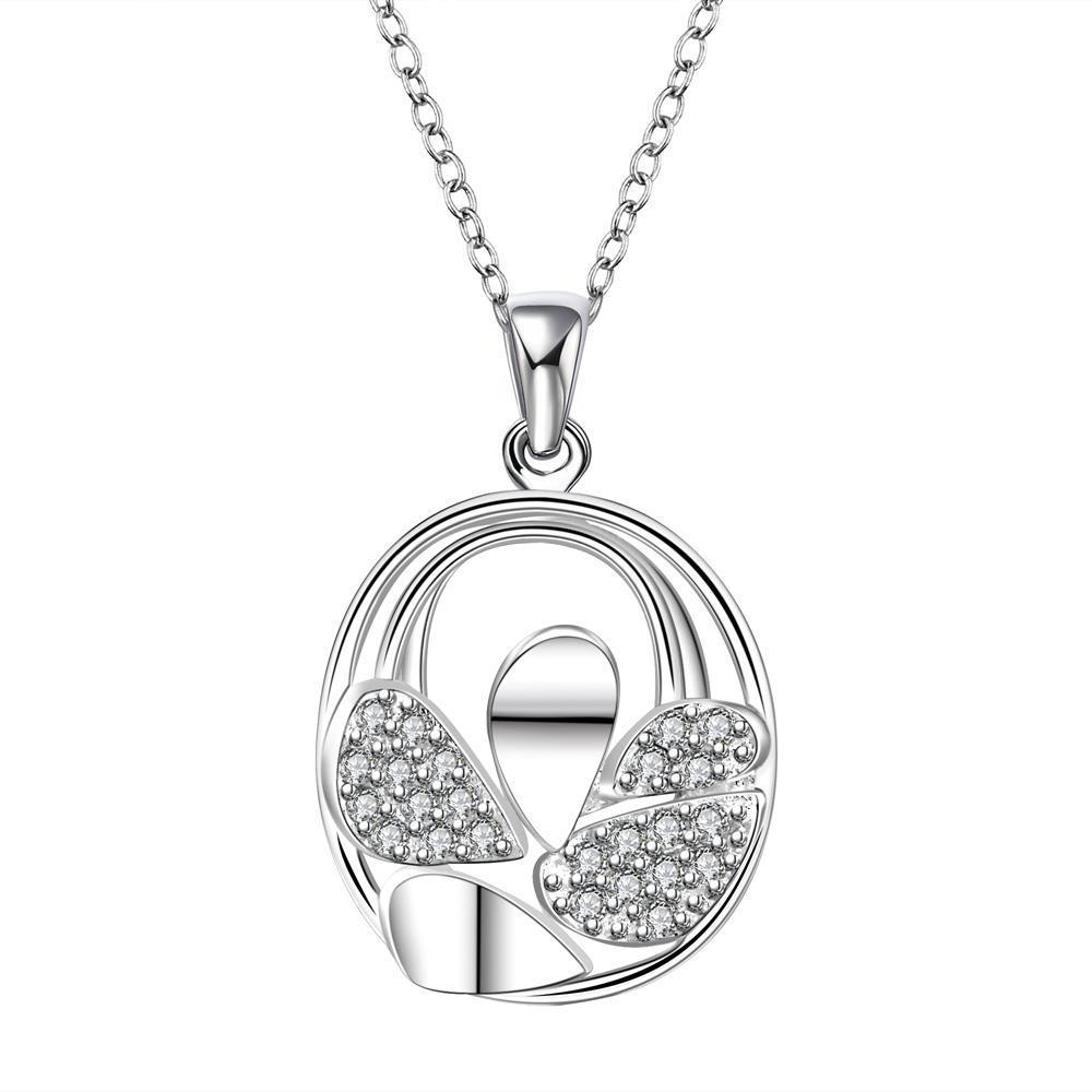 Vienna Jewelry Sterling Silver Curved Circular Emblem Drop Necklace