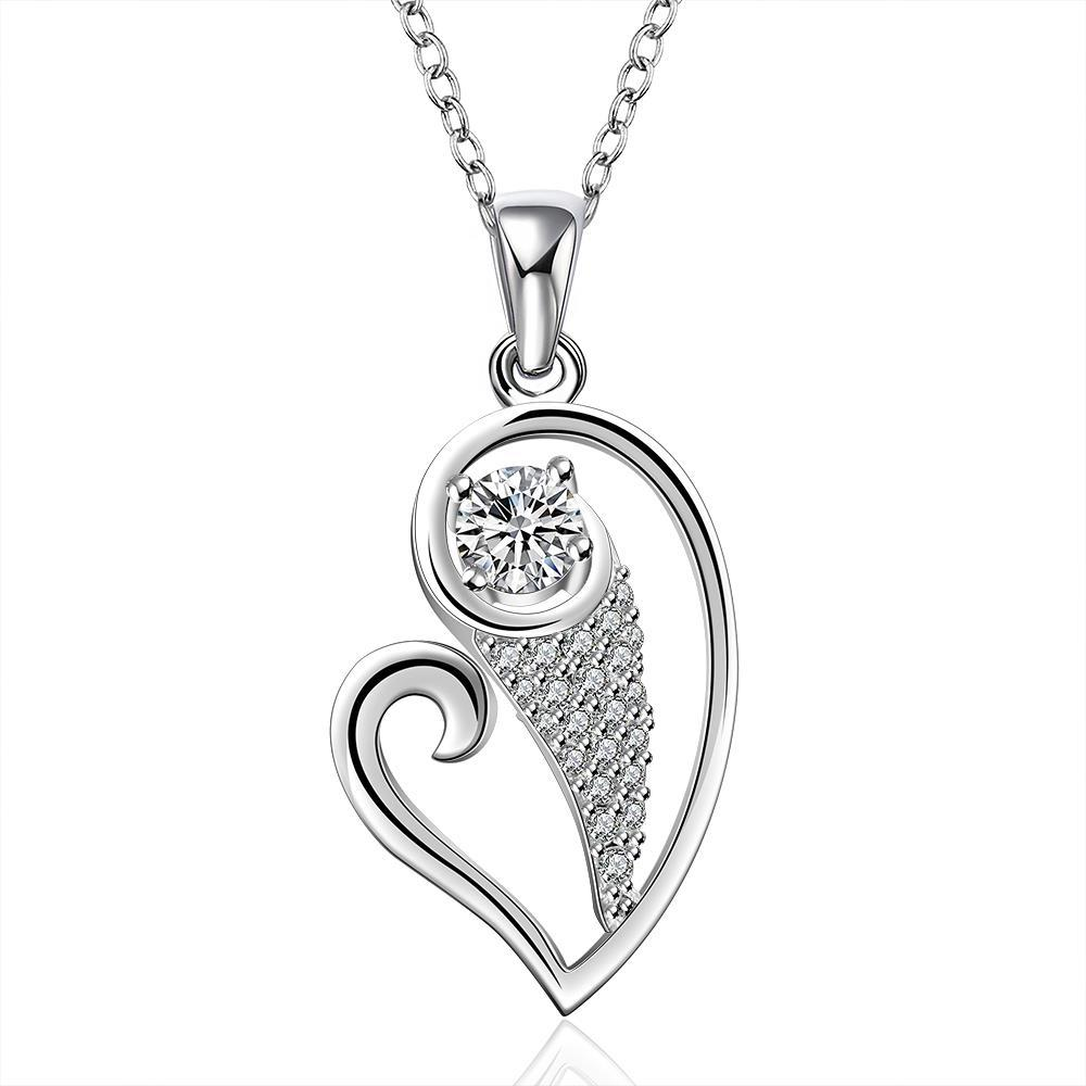 Vienna Jewelry Sterling Silver Curved Heart & Jewels Drop Necklace