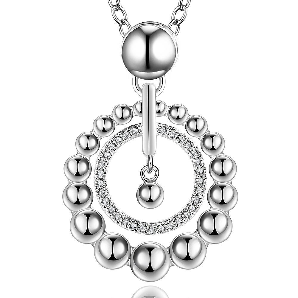 Vienna Jewelry Sterling Silver Circular Pearl Pendant Modern Necklace