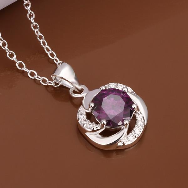Vienna Jewelry Sterling Silver Curved Purple Citrine Emblem Necklace