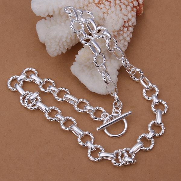 Vienna Jewelry Sterling Silver Modern Sleek Interlocked Chain Necklace