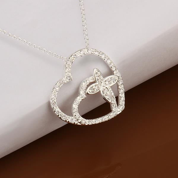 Vienna Jewelry Sterling Silver Duo Heart Crystal Covering Necklace