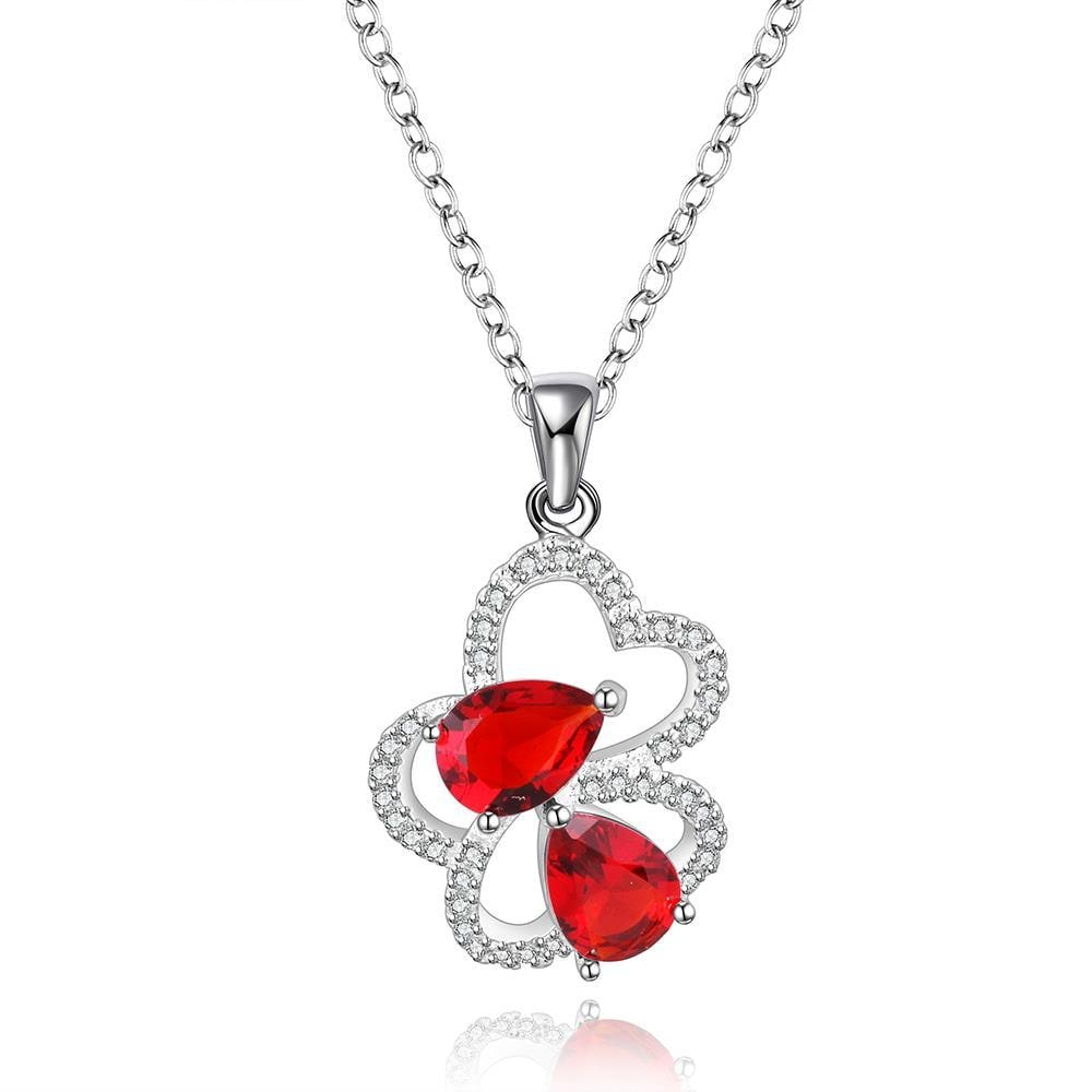 Vienna Jewelry Sterling Silver Petite Ruby Gem Floral Petal Drop Necklace