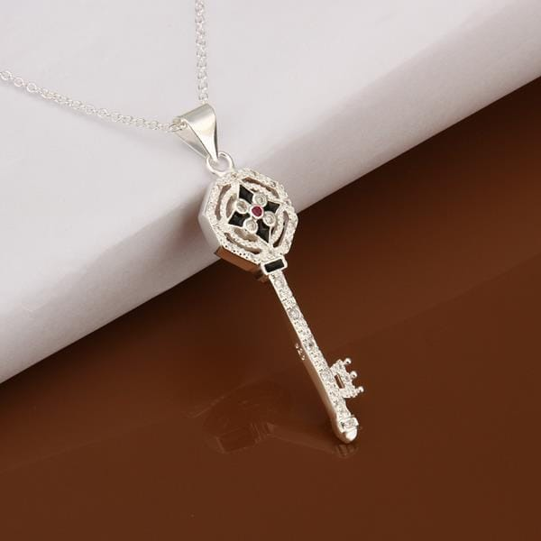 Vienna Jewelry Sterling Silver Modern Key Lock Drop Necklace