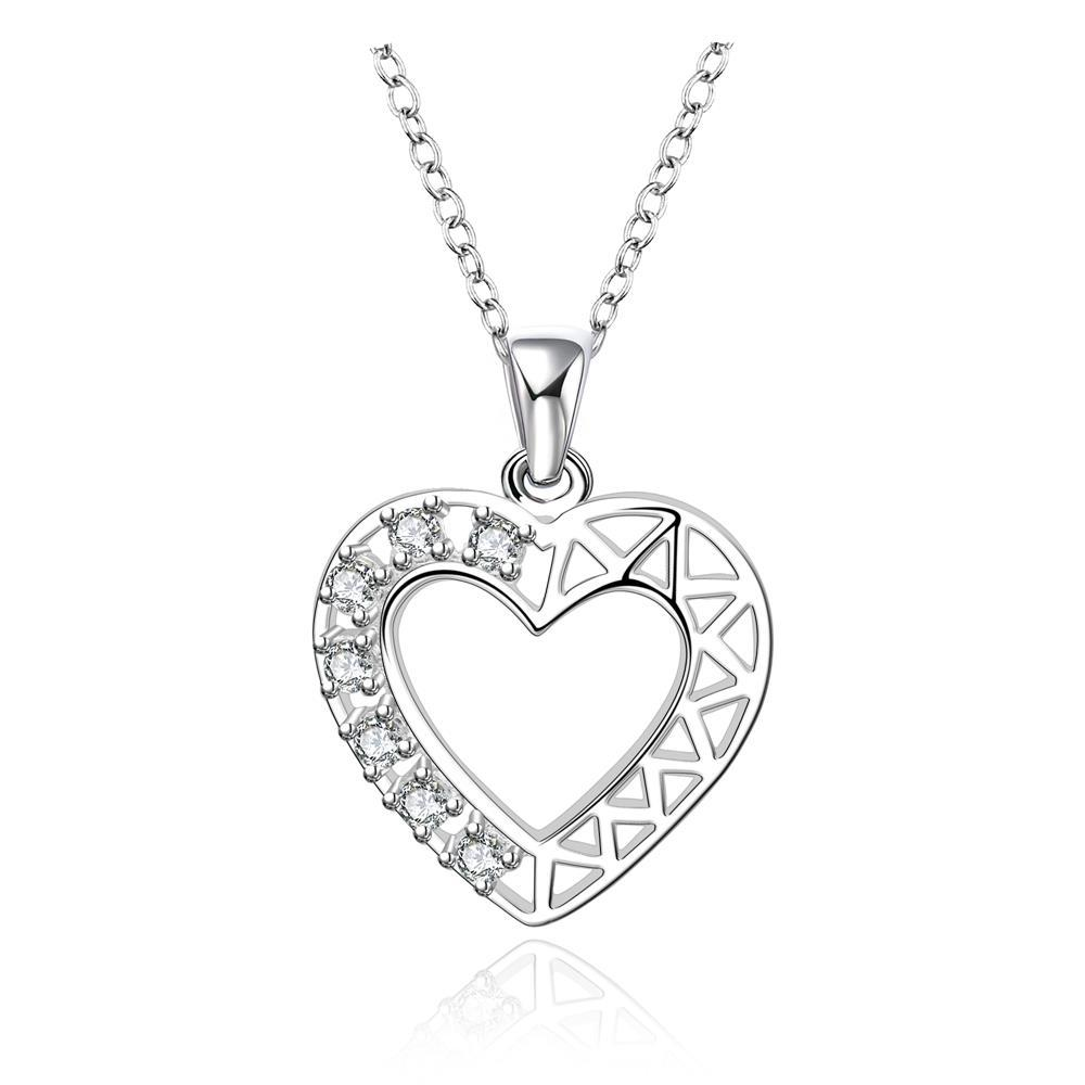 Vienna Jewelry Sterling Silver Laser Cut Hollow Heart Drop Necklace - Thumbnail 0