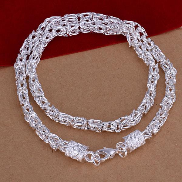 Vienna Jewelry Sterling Silver Muli-Thick Connected Chain Necklace