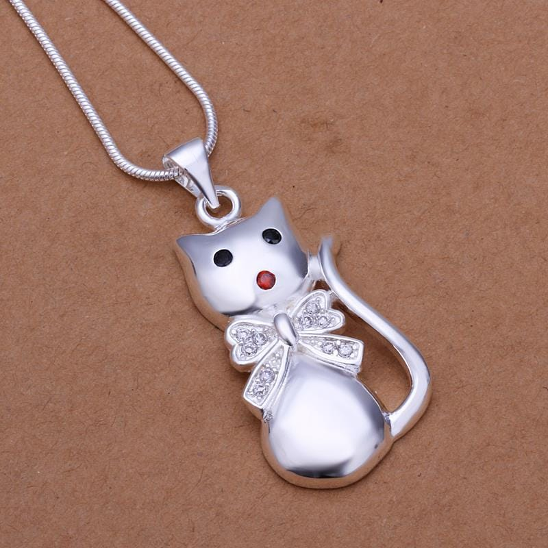 Vienna Jewelry Sterling Silver Petite Kitty Cat Pendant