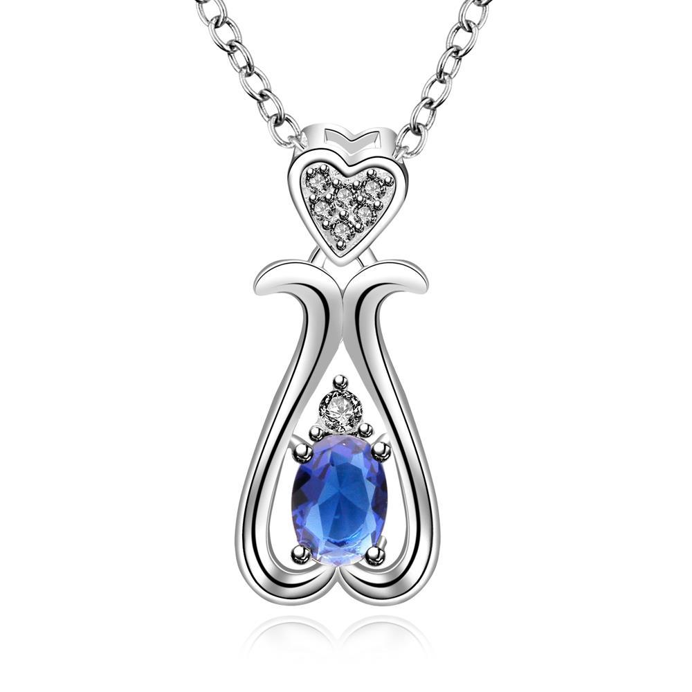 Vienna Jewelry Sterling Silver Mock Sapphire Gem Harp Shaped Drop Necklace
