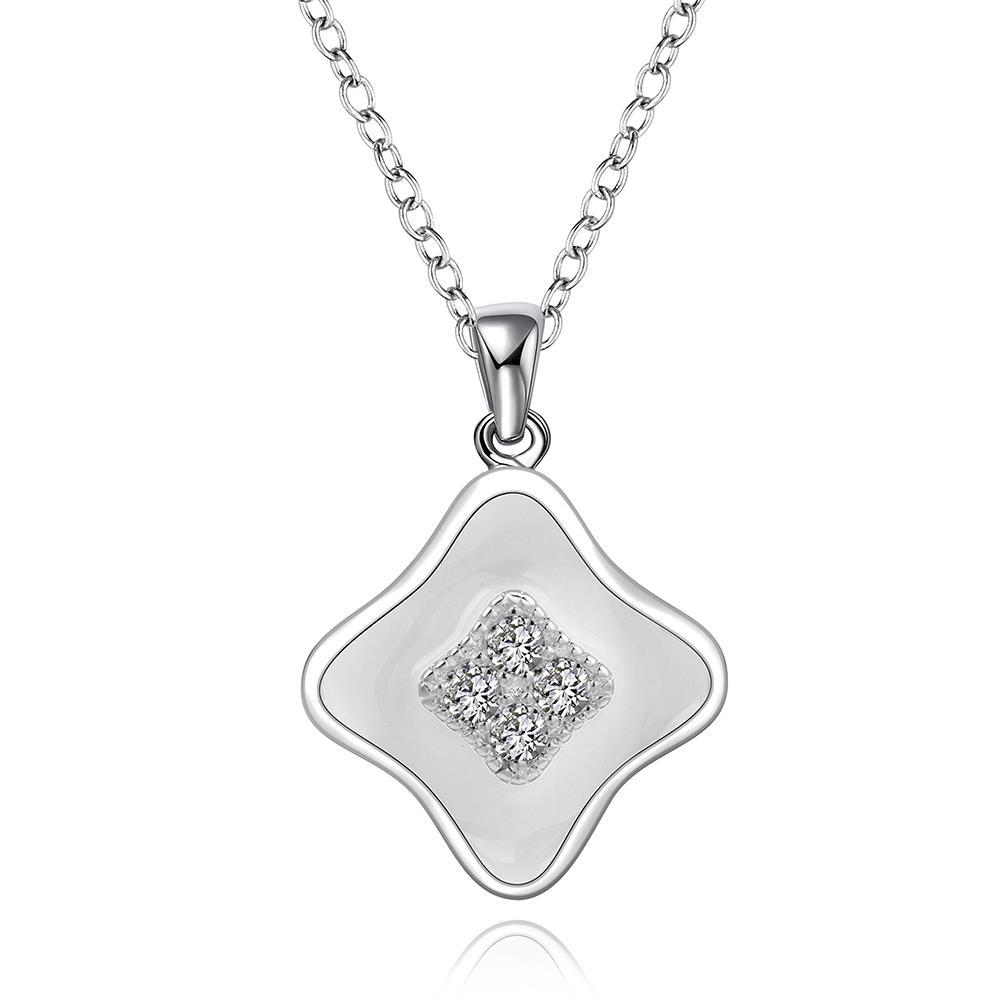 Vienna Jewelry Sterling Silver Ivory Layering Diamond Shaped Drop Necklace