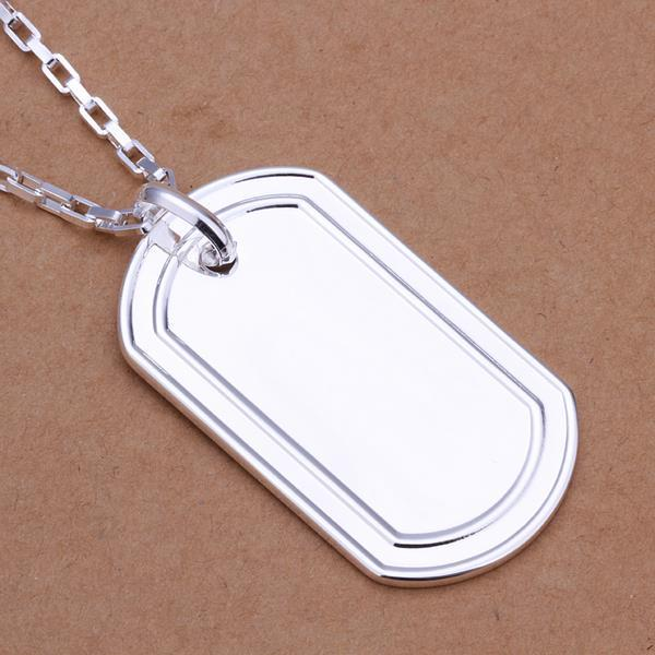 Vienna Jewelry Sterling Silver Modern Sleek Dog Tag Drop Necklace