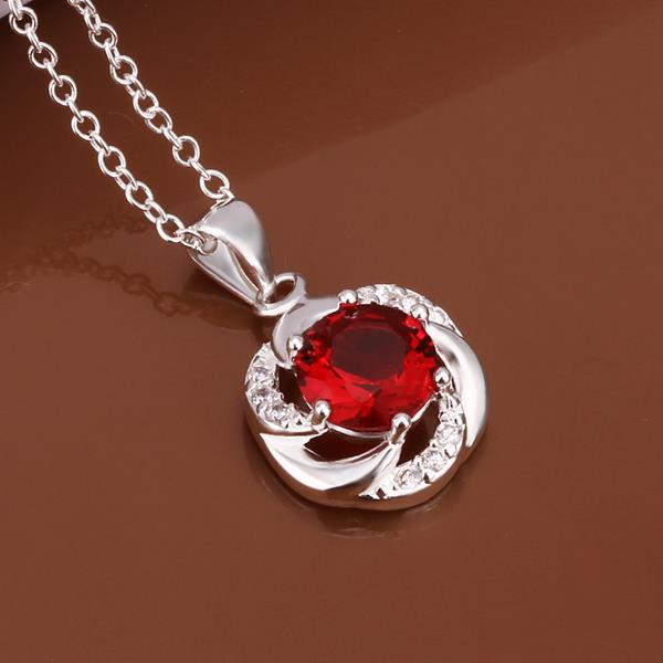 Vienna Jewelry Sterling Silver Curved Ruby Gem Emblem Necklace
