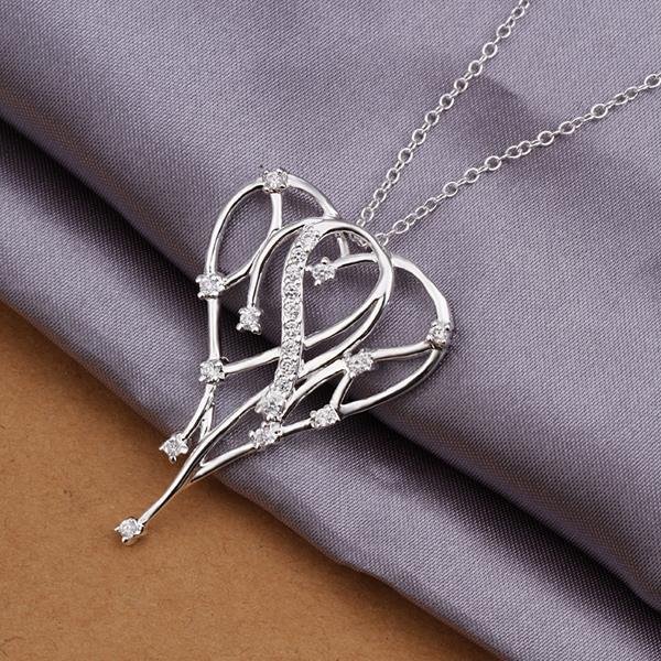 Vienna Jewelry Sterling Silver Dangling Heart Shaped Necklace