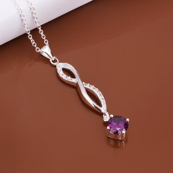 Vienna Jewelry Sterling Silver Purple Citrine Gem Dangling Necklace