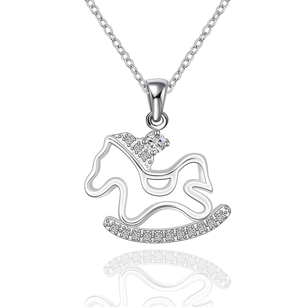 Vienna Jewelry Sterling Silver Running Pony Pendant Necklace