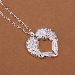Vienna Jewelry Sivler Tone Curved Jewels Heart Pendant Drop Necklace - Thumbnail 0