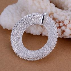 Vienna Jewelry Sterling Silver Mesh Circle Pendant - Thumbnail 0