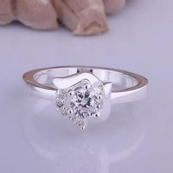 Vienna Jewelry Classic Crystal Floral Shaped Petite Ring Size: 8 - Thumbnail 0
