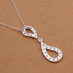 Vienna Jewelry Sterling Silver Duo-Spiral Emblem Drop Necklace - Thumbnail 0
