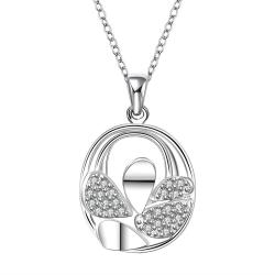 Vienna Jewelry Sterling Silver Curved Circular Emblem Drop Necklace - Thumbnail 0