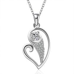 Vienna Jewelry Sterling Silver Curved Heart & Jewels Drop Necklace - Thumbnail 0