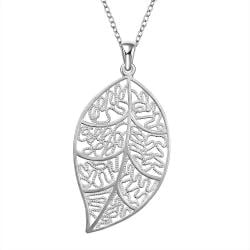 Vienna Jewelry Sterling Silver Filligree Leaf Pendant - Thumbnail 0
