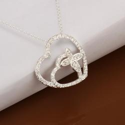 Vienna Jewelry Sterling Silver Duo Heart Crystal Covering Necklace - Thumbnail 0