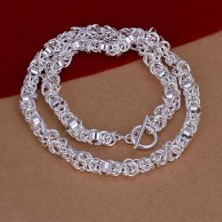 Vienna Jewelry Sterling Silver Chain Clasp Thick Necklace - Thumbnail 0