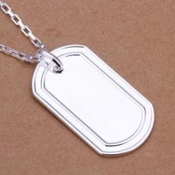 Vienna Jewelry Sterling Silver Modern Sleek Dog Tag Drop Necklace - Thumbnail 0