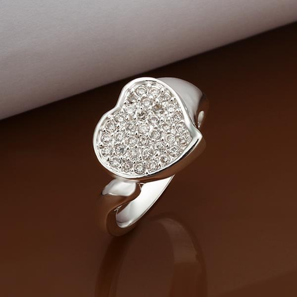 Vienna Jewelry Sterling Silver Classic Crystal & Jewels Covering Heart Ring Size: 8
