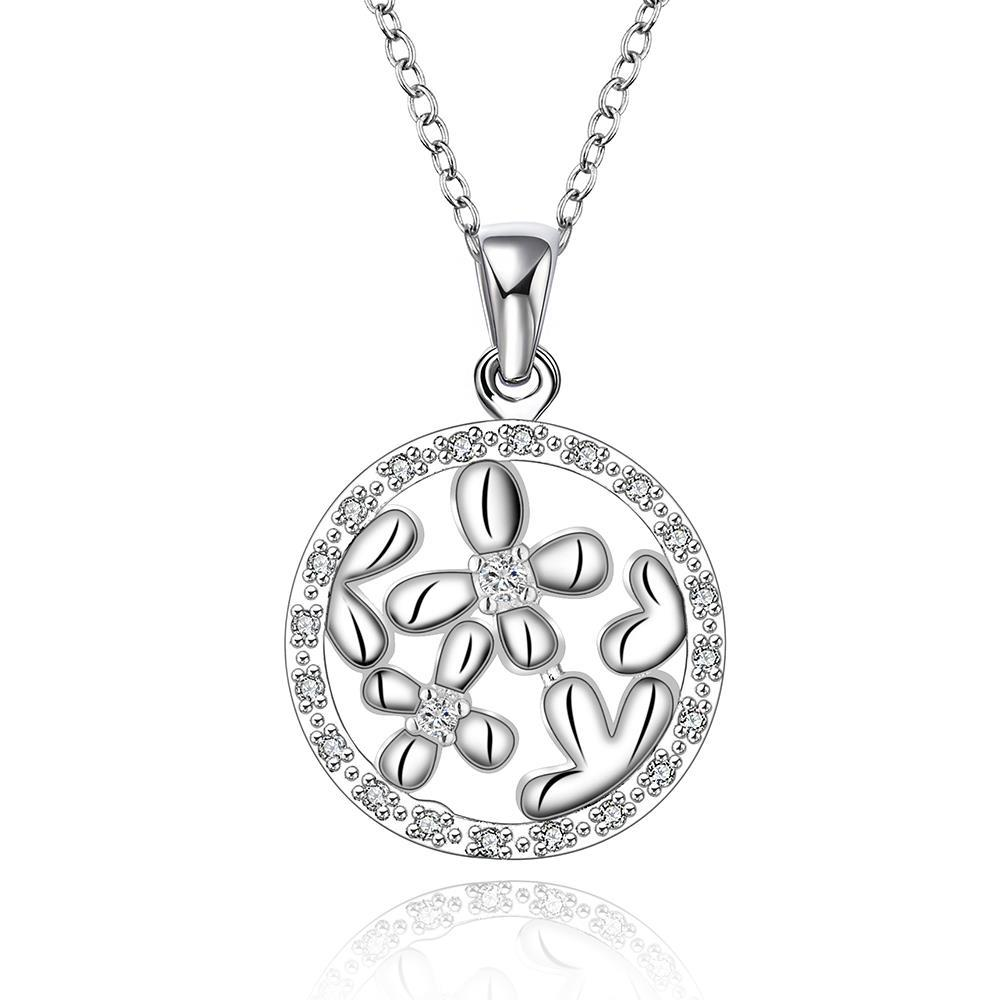 Vienna Jewelry Sterling Silver Clover Filled Pendant Circular Necklace
