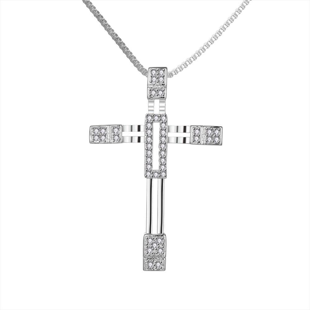 Vienna Jewelry Sterling Silver Crystal Cross Drop Necklace