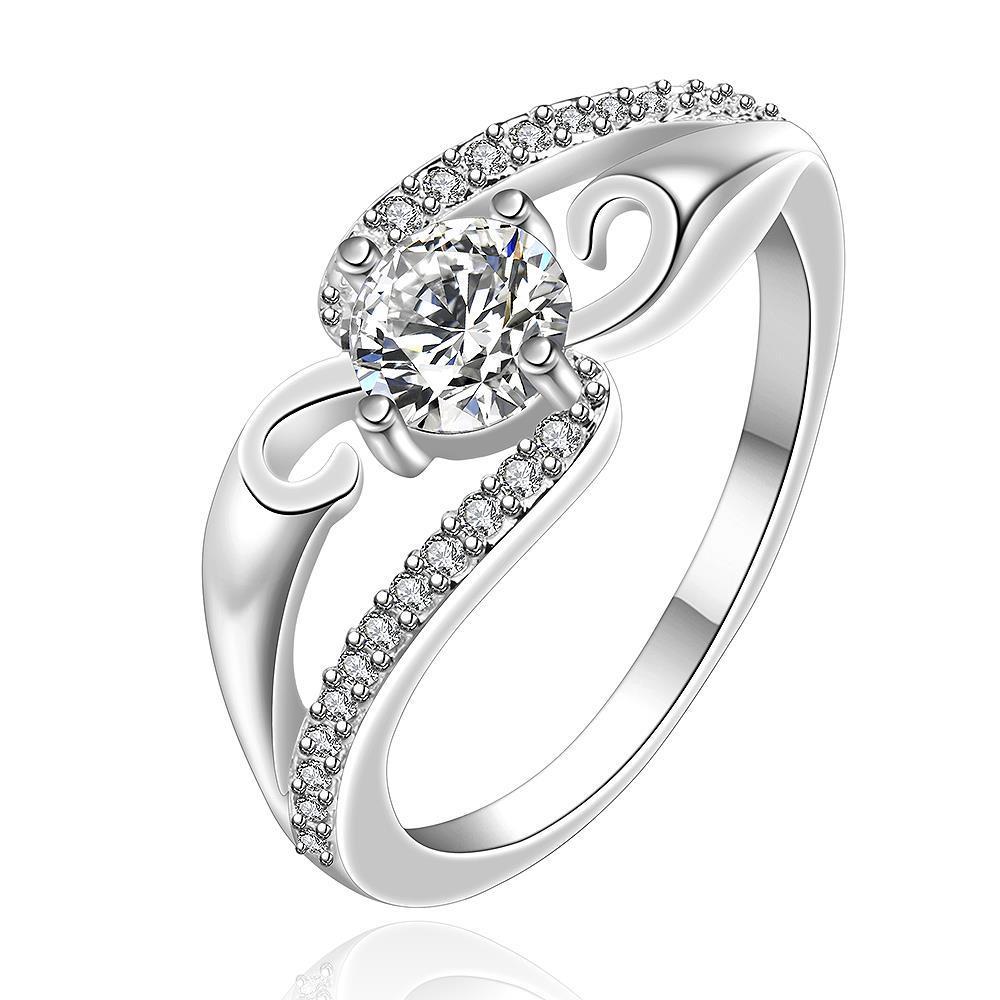 Vienna Jewelry Sterling Silver Crystal Swirl Design Modern Ring Size: 8