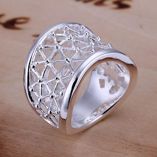 Vienna Jewelry Sterling Silver Laser Cut Swirl Design Ring Size: 8