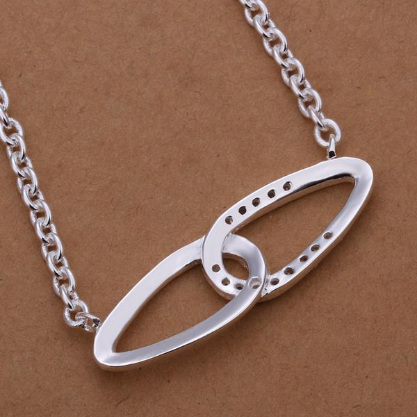 Vienna Jewelry Sterling Silver Curved Duo Emblem Abstract Necklace