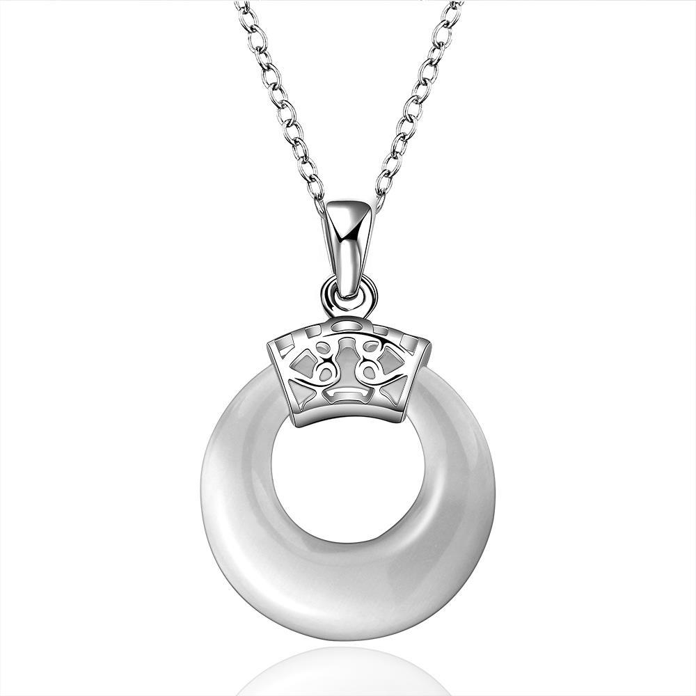 Vienna Jewelry Sterling Silver Classic Circular Emblem Drop Necklace