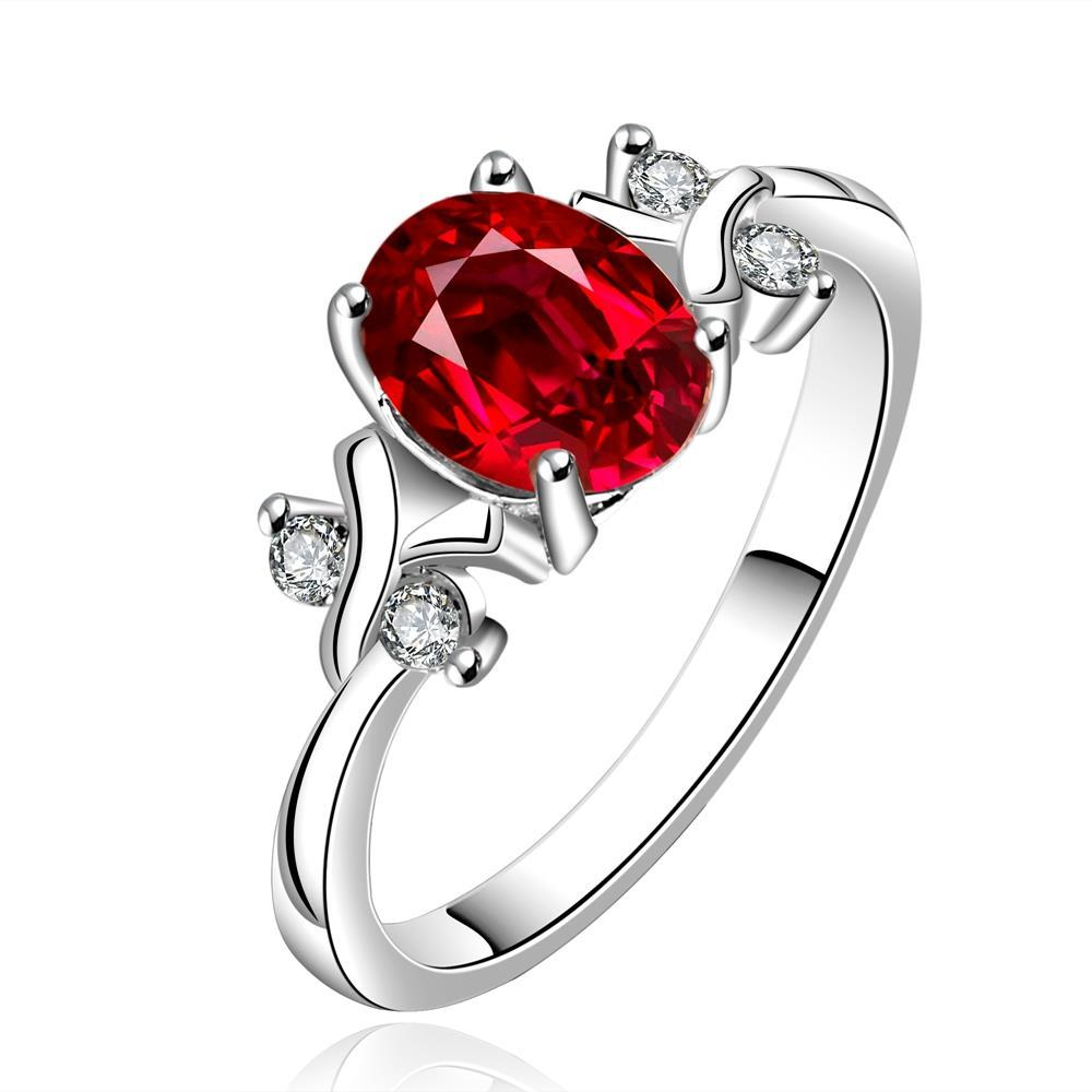 Vienna Jewelry Sterling Silver Petite Ruby Red Princess Inspired Petite Ring Size: 7
