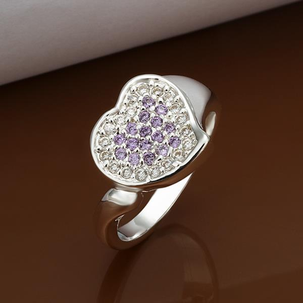 Vienna Jewelry Sterling Silver Purple Citrine & Jewels Covering Heart Ring Size: 8
