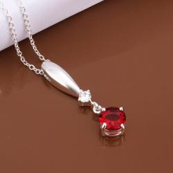 Vienna Jewelry Sterling Silver Dangling Ruby Gem Necklace - Thumbnail 0