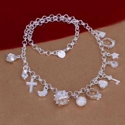 Vienna Jewelry Sterling Silver Muli-Charms Necklace - Thumbnail 0