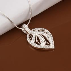 Vienna Jewelry Sterling Silver Laser Cut Leaf Emblem Drop Necklace - Thumbnail 0