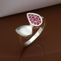 Vienna Jewelry Sterling Silver Ruby Red Leaf Shape Petite Ring Size: 8 - Thumbnail 0